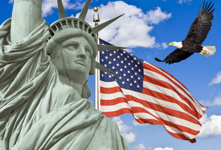 liberty statue: American Flag, flying bald Eagle,statue of liberty