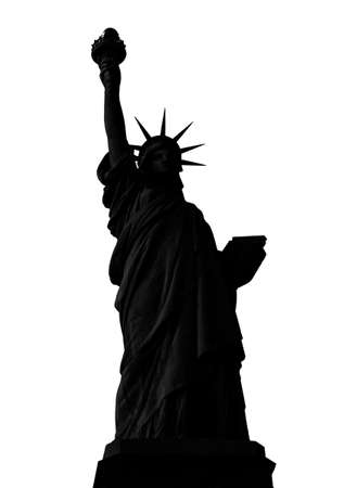 Statue of Liberty in New York City silhouette isolated on white