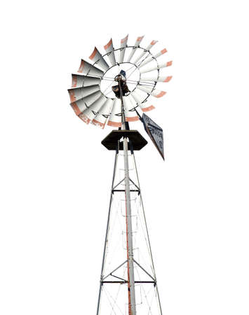 Vintage wind mill isolated on white Stock Photo