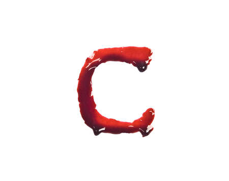 letter c: Dripping slashed blood fonts the letter lower case c