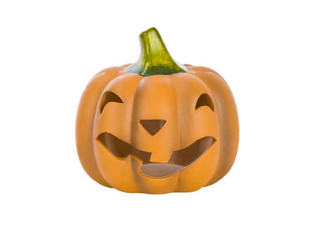 Halloween Pumpkin Jack O Lantern isolated on white  photo