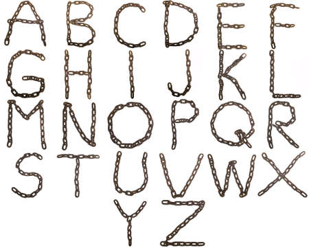 metal: Alphabet upper case from rusty chains isolated on white