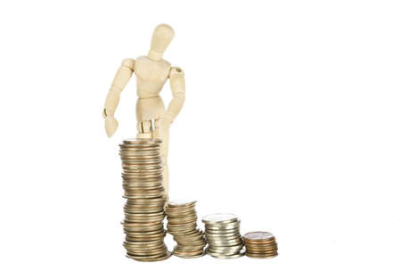 Wood guy showing savings  Stock Photo - 15768670