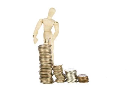 Wood guy showing savings Stock Photo - 15768670