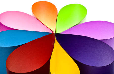 Colored paper background stacked in wedges  Stock Photo