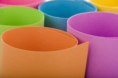 objects: Colored paper background stacked