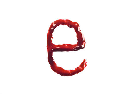 e liquid: Dripping blood fonts the letter lower case e  Stock Photo