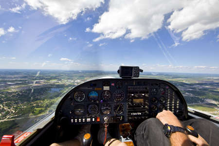 View from small aircraft taking off from runway  Stock Photo