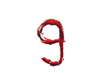 liquid g: Dripping slashed blood fonts the letter lower case g