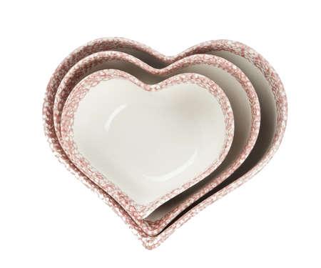 shaped: Empty heart shaped bowls  Stock Photo