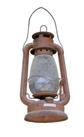 lamp: Old dusty oil lamp isolated on white