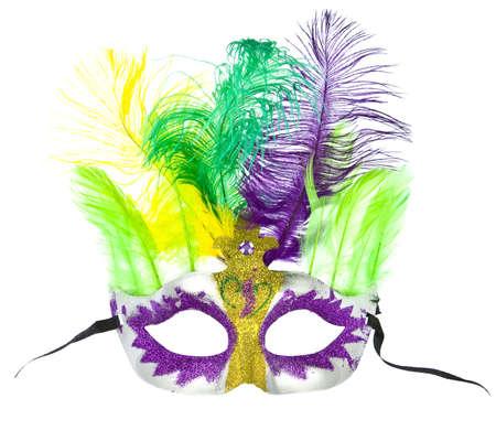 Kleurrijke Mardi Gras masker met veren geïsoleerd op wit