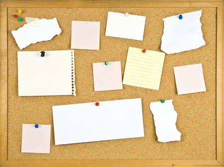 Cork bulletin board with blank notes photo