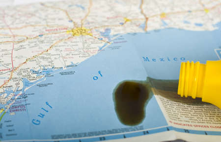 Gulf of Mexico map with oil spill concept photo