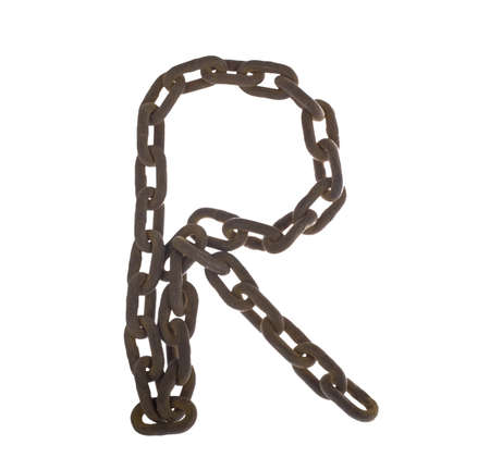 Letter R from rusty chain alphabet isolated on white