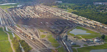 View of train yard from small aircraft  photo