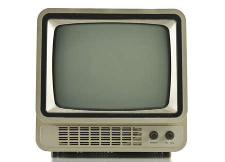 Old vintage TV over a white background photo