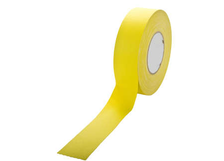 gaff: Yellow gaffers tape on roll isolated on white  Stock Photo