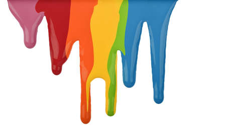 Paint dripping isolated on white Stock Photo