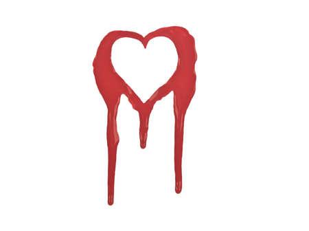 Red outline of bleeding heart Isolated on white  Stock Photo
