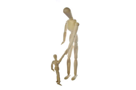 wooden mannequin: Wood guy with wood son isolated on white