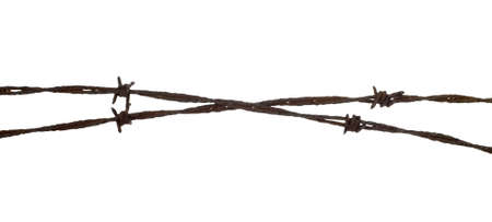 rusty barbed wire isolated on white