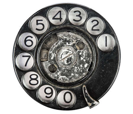 Close up of Vintage phone dial on white  photo