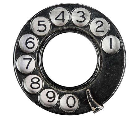 Close-up van vintage telefoon wijzerplaat op wit