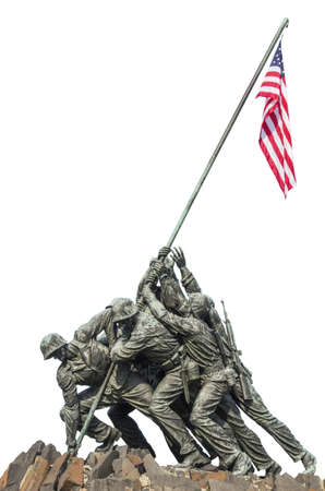 Marine Corps War Memorial Iwo Jima statue and American Flag isolated