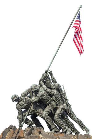 Marine Corps War Memorial Iwo Jima statue and American Flag isolated