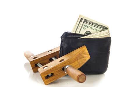 wallet full of money, but restricted with clamp Stock Photo - 16006248