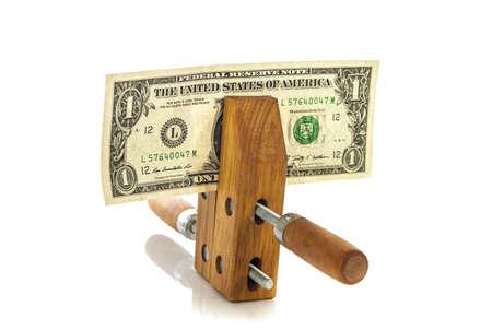 miser: Money squeezed concept