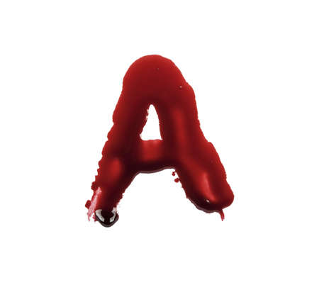 paint drop: Blood fonts written with bloody fingers, the letter A