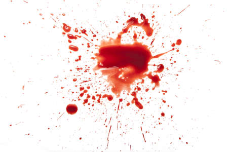 Blood splatter on white