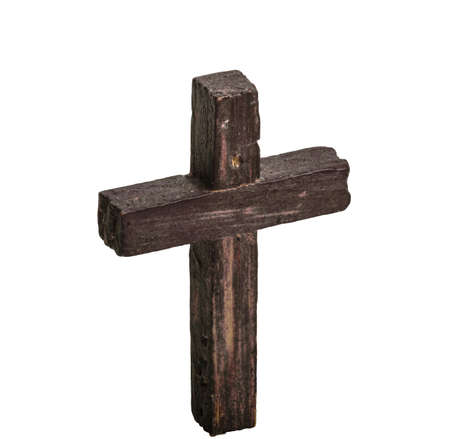 Wooden cross isolated on white photo