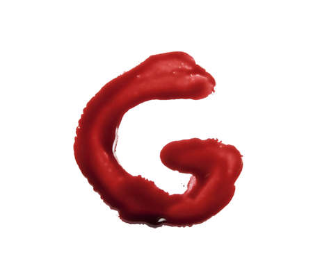 liquid g: blood font written with bloody finger the letter G Stock Photo