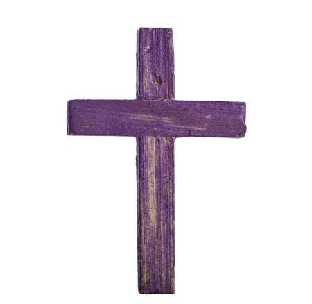 lent: Wooden cross isolated on white