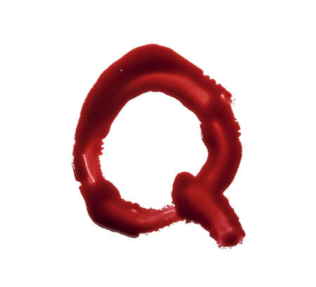 macabre: Blood fonts written with bloody fingers, the letter Q