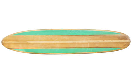 surfboard fin: Retro Surfboard isolated on white  Stock Photo