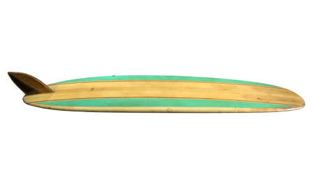 single fin: Retro Surfboard isolated on white  Stock Photo