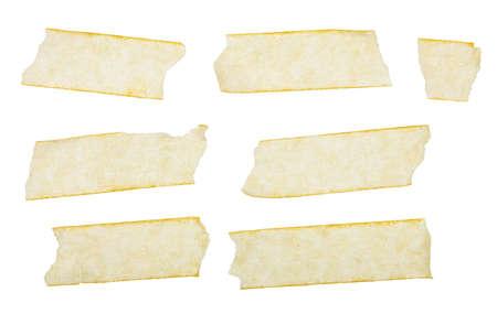 Various adhesive tape pieces on white background   Zdjęcie Seryjne