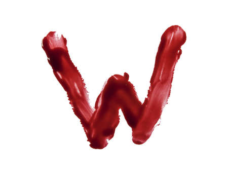 dribble: Blood fonts written with bloody fingers, the letter W  Stock Photo