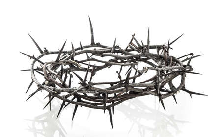 resurrected: Crown of thorns on white Stock Photo