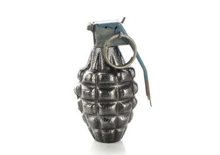 Hand grenade isolated on white photo