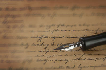 a vintage pen on a handwritten paper Stock Photo - 17955167