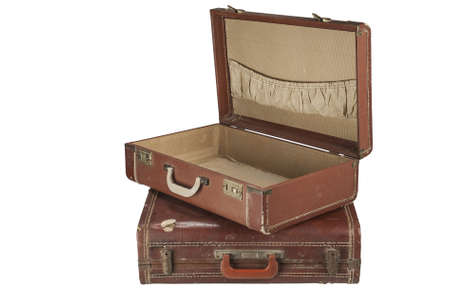suit case: Two Vintage suit cases Isolated on white Stock Photo