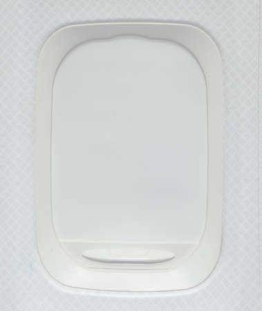 window shade: Airplane window with shade down Stock Photo
