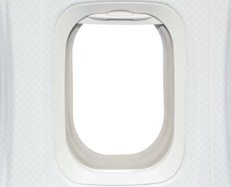 Airplane window  View has been removed and replaced with white photo