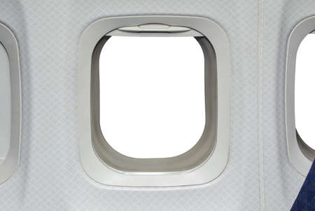 replaced: Airplane window  View has been removed and replaced with white Stock Photo