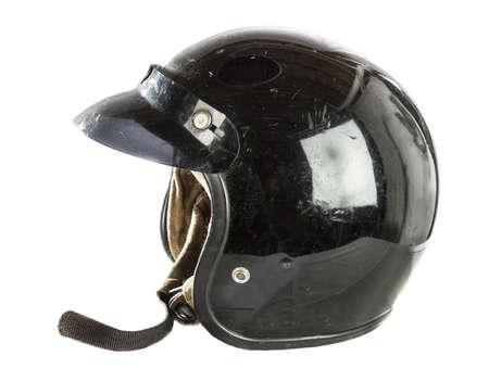 casco moto: casco de motocicleta de la vendimia aislado en blanco Foto de archivo